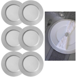 """6 X Silver Round 13"""" Charger Plate Centerpiece Dinner Dining Table Setting Decor"""