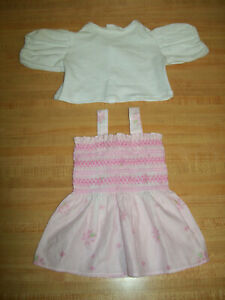 "PINK SMOCKED SUNDRESS PINK FLOWERS+ KNIT BLOUSE for 20"" CPK Cabbage Patch Kids"