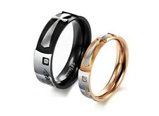 "Asma black& rose gold plated stainless steel ""Real Love"" couple ring"