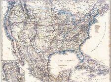 Echte 142 Jahre alte Landkarte der USA Vereinigte Staaten von Amerika Cuba 1875