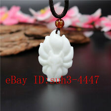 Natural White Chinese Jade Nine-tailed Fox Pendant Necklace Charm Jewelry Gifts