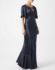 NEW Ghost Monsoon Athena Vintage Kimono Navy Blue Maxi Evening Dress Gown 12