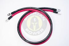8 Foot 2 AWG Gauge Battery Cable Set by Spartan Power   Made in the USA
