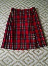 Moffat Weavers Tweeds and Tartans Kilt SZ 14 Stewart Plaid Fringe Wool Reds