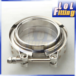 """3"""" CNC 304 Stainless Steel Self Aligning Male/Female Flange& V-Band Clamp Kit"""