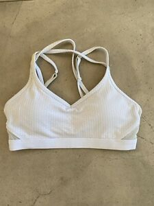 Lorna Jane White Sports Bra Crop Top Size S Adjustable Straps