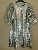 BNWT ZARA SILVER SEQUIN MINI DRESS WITH 3/4 LENGTH PUFF SLEEVES SIZE S