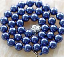 "Beautiful! 10MM Navy blue Sea Shell Pearl Necklace 18""AAA"