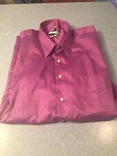 Geoffrey Beene Mens Regular Fit Sateen Dress Shirt Long Sleeved Purple