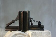 Two Vintage Wooden Bookend Home Decor Military Books Accessory Boys' library Dec