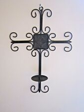 """LARGE Metal Cross w/ Candle Holder, Wall Mount Antique Patina 20.5"""" x 14.5"""""""