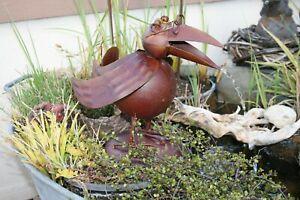 Wasserspeier Vogel Rabe  Pumpe Metall Springbrunnen Teich Figur Rost Deko 30 cm