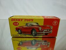 DINKY TOYS 114 BOX for TRIUMPH SPITFIRE - 1:43 - GOOD CONDITION - ONLY EMPTY BOX