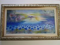 ALVARO PEPPOLONI LARGE ABSTRACT PAINTING  EXPRESSIONISM VINTAGE SURREAL FLOWERS