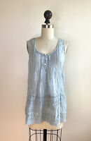 Johnny Was XS Sleeveless Crochet Blue Embroidered Tank Tunic Top