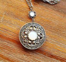 Moon Locket Glass Moonstone Opal Silver Filigree Necklace Victorian vintage styl
