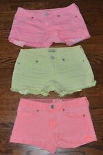 3 PAIR LOT AEROPOSTALE SIZE 00 JUNIORS PINK YELLOW CORAL DISTRESSED SHORTS