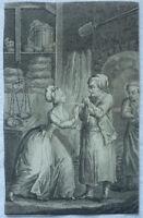 Kupferstich vor 1840 Konditorei Bäcker ca. 8 x 13 cm Eifersucht