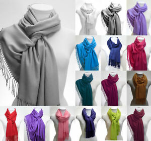 LADIES RAYON PASHMINA SCARF SHAWL DRESS WRAP BNIP 16 COLOUR OPTIONS