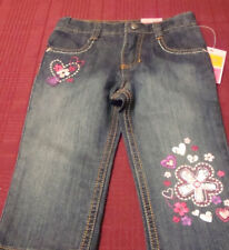 TODDLER SONOMA BLUE JEANS ADJUSTABLE WAIST  FLOWER ACCENTS  SIZE 18 MONTHS  NWT