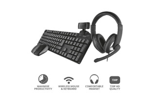 TRUST Home Office Set Qoby 4 in 1 TASTIERA+MOUSE+WEBCAM+CUFFIE PER SMARTWORKING