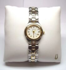 WOMENS ACCUTRON BARCELONA QUARTZ STAINLESS 2 TONE WATCH 28M04 DATE 2ND HAND