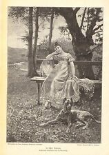 Pretty German Girl, Great Dane Dog, Victorian Fashion Vintage 1892 Antique Print