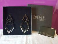 MERLE O'GRADY Black Perspex, Gold-tone Metal, & Grey Crystal Chandelier Earrings