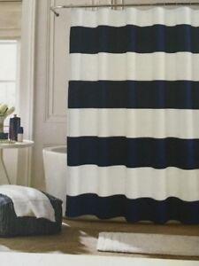 """TOMMY HILFIGER Shower Curtain CABANA STRIPE Seersucker 72"""" X 72"""" NAVY WHITE NEW"""