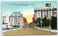 Government Street Victoria BC Canada Belmont Building Post Office Postcard E13