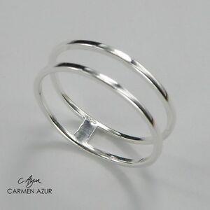 925 Sterling Silver Ring Slim Double Size J,K,L,L1/2,M,N1/2,O,P,P1/2,Q +Gift Bag