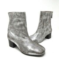 NEW Seychelles Women's Ankle Leather Back Zip Booties Pewter Silver Size 37