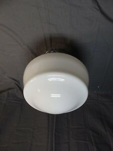 Vtg Chrome Farmhouse Kitchen Light Fixture Art Deco Old Milk Glass Globe 1580-16