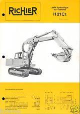 ▬►Prospectus de 1972 RICHIER  PELLE HYDRAULIQUE CHENILLES  H 21 C2 NO POCLAIN