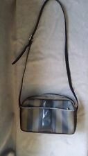 Vintage Fendi Black & Brown Striped Adjustable Strap Shoulder Bag GUC Sb