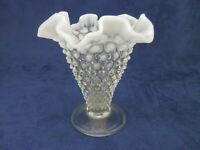 "Vintage Fenton Glass HOBNAIL FRENCH Opalescent Ruffled 5.75"" Footed Vase"