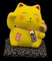 Hucha Gato Japonés 10.5cm Riqueza Maneki Neko Fabricado en Japón Amarillo 40642