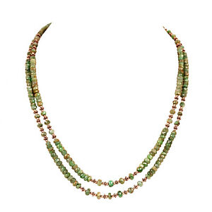 100% Natural Green Emerald Gemstone 139.90Ct Beaded Necklace In 925 Silver Bead