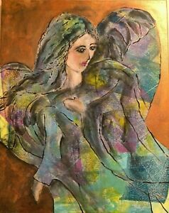 Original acrylic art painting - Guardian Angel  :  Our savior in this world