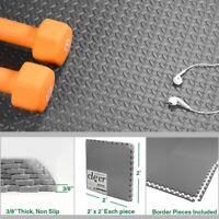 Clevr 96 SqFt Steel EVA Gray Foam Floor Mat Interlocking Tile Exercise Gym 24pcs
