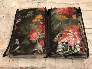 Rare! VTG Ralph Lauren Cossette Isadora Black Floral 2 Ruffled Euro Pillow Shams