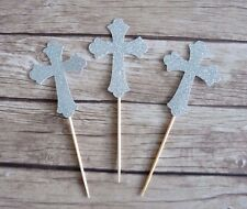10 Cross Cupcake Toppers - Silver Baptism, Christening, Communion Religious