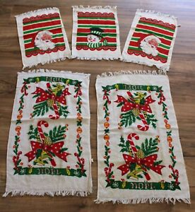 NWT New! Vintage 70s TROPHY CANNON MILLS CHRISTMAS SANTA HAND TOWELS Lot of 5