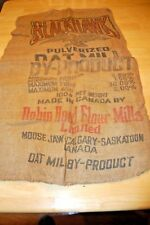 BLACKHAWK OATS- Vintage Burlap Farm Feed Gunny Sack Bag Empty - ROBIN HOOD MILLS