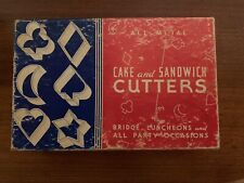 Vintage Metal Cake and Sandwich Cookie Cutters Set of 6 In original Box1950s
