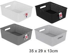 2 Rectangle Multi Purpose Plastic Storage Basket Wicker Pattern Organisation VIC