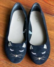 NEW The Children's Place Black Suede Cat Ballet Flats Kitty Face Slip-On Shoes 2