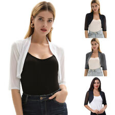 GK Womens Cropped 3/4 Sleeves Cardigan Sweater Bolero Jacket Shrug For Clubwear