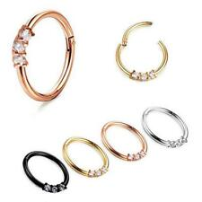 Hot Triple Gem Septum Clickers Hinged Segment Rings Tragus Daith Cartilage--