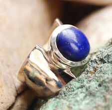 Massiv Silberring 59 Lapis Lazuli Blau Gold Pyrit Elegant Schlicht Silber Ring